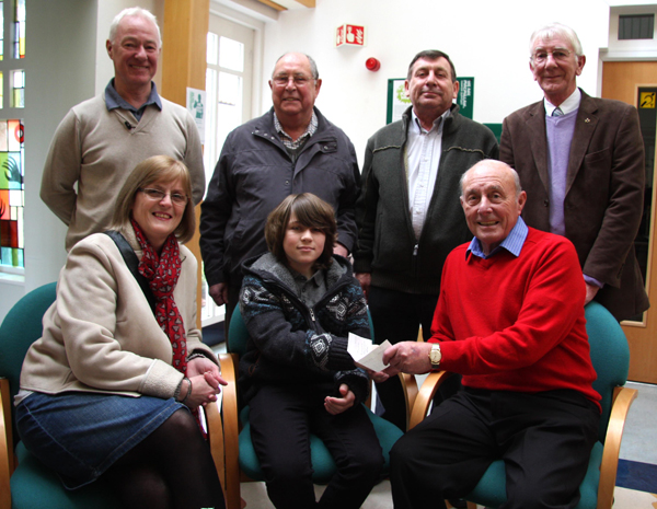 Bone Marow Recipient Accepts Cheque from Masons on behalf of Charity