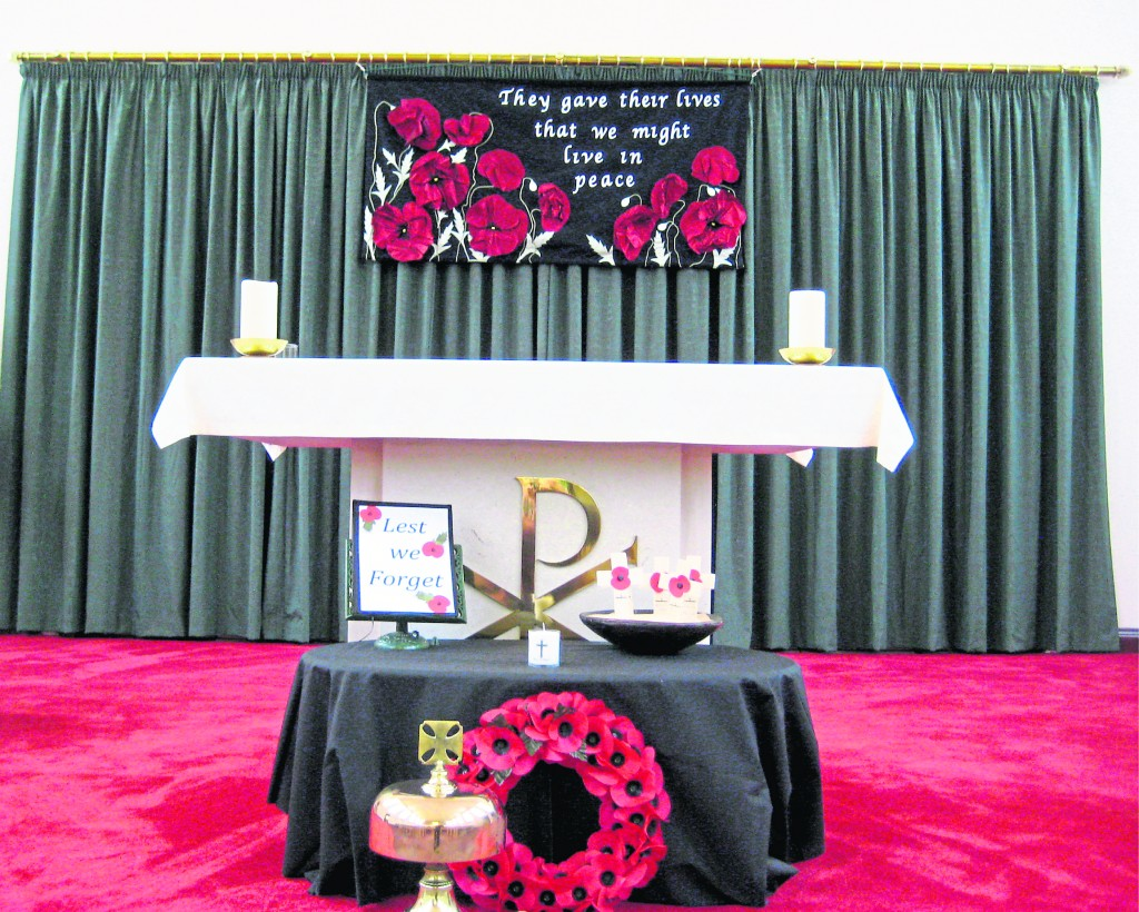 The banner in position behind the Alter