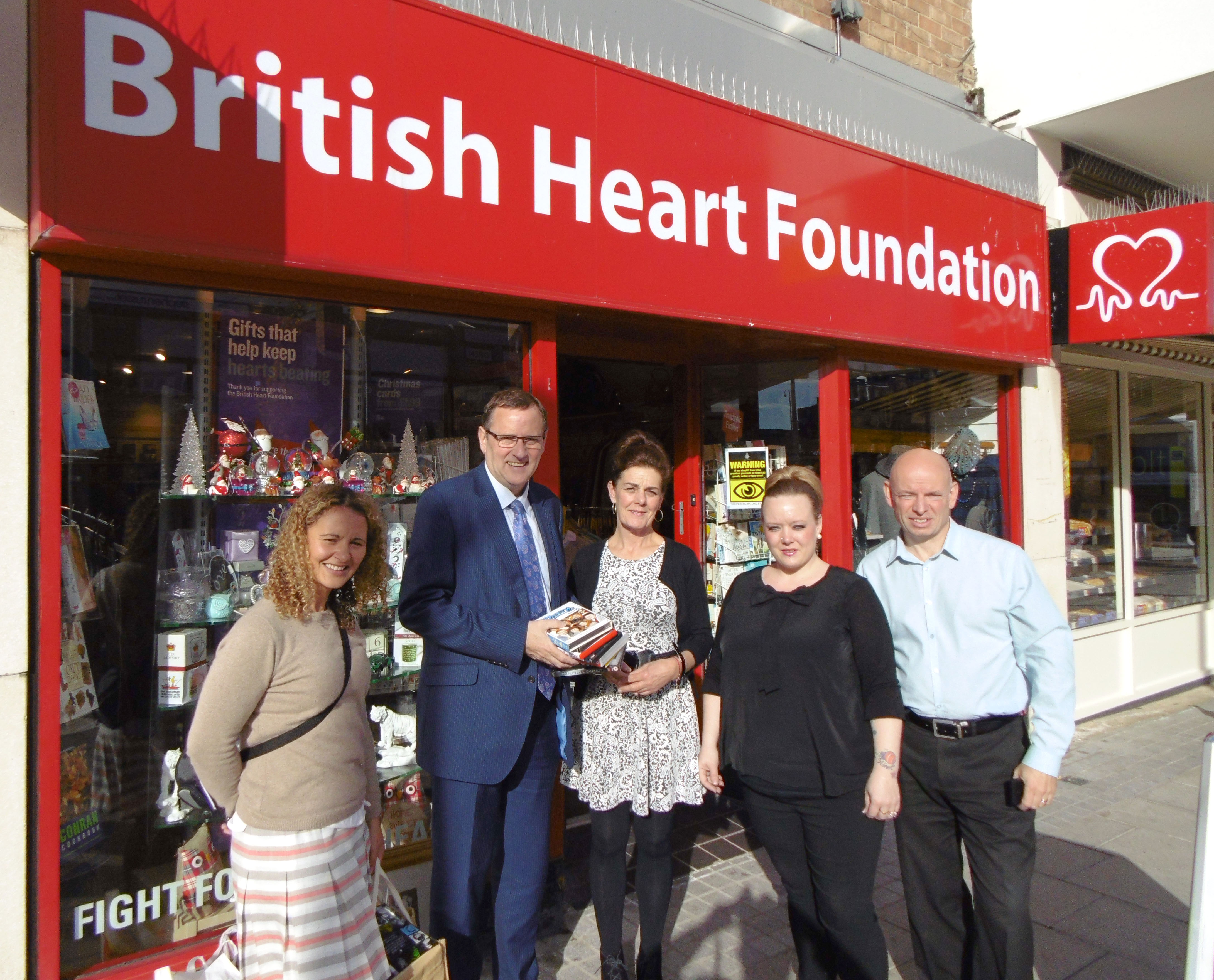 M.P. Phil Drops in at BHF Shop