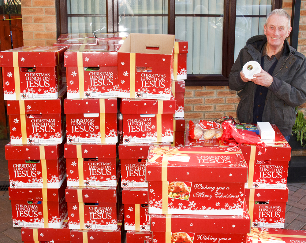 Town Church Distributes 50 Christmas Hampers