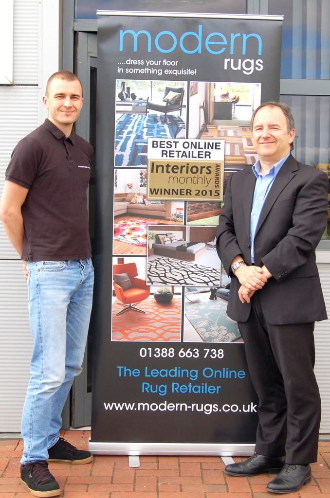 Ben Dale founder of Modern Rugs (left) and Martin Tragen (right) at the firm's HQ after receiving their 'Best Online Retailer 2015' award.