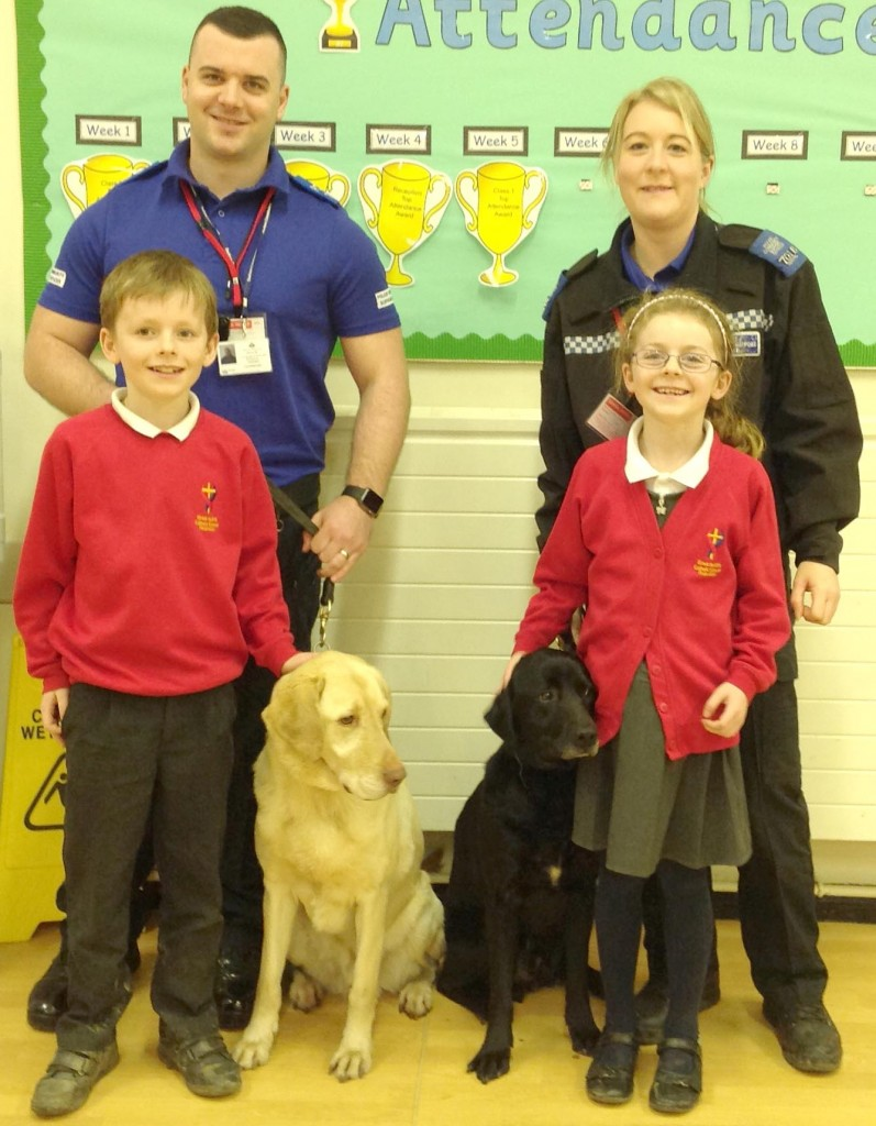 Police Dogs Jet and Ben with Jack and Amy