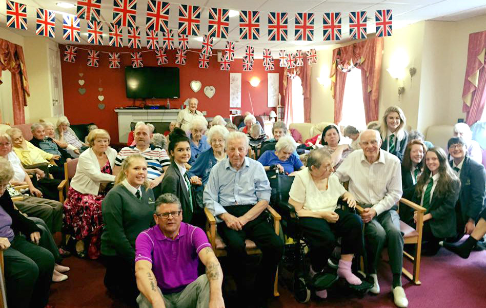 Students Join Care Home Celebrations for Queen's Birthday