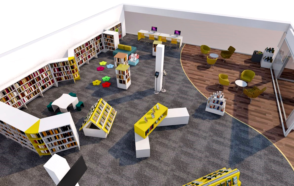 Birdseye view of the new look library