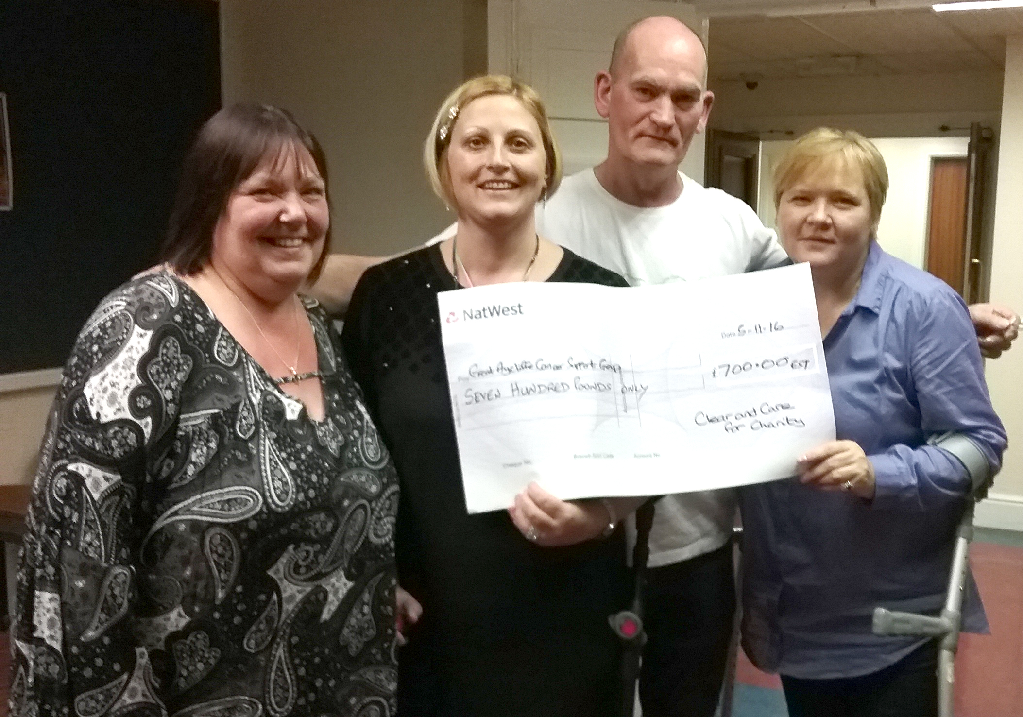 £700 for Aycliffe's Cancer Support Group