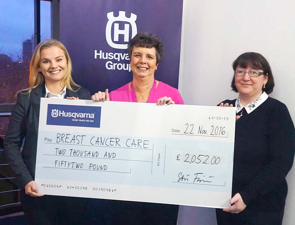 Husqvarna Pink Campaign £2,000 for Cancer Care