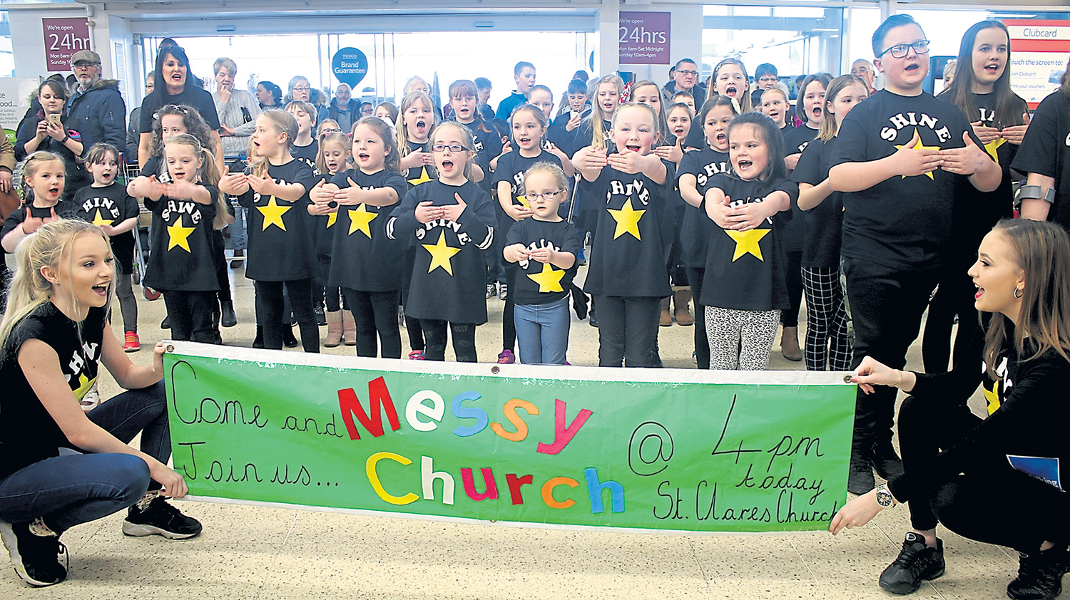 St Clare's Flash Mob in Tesco & Messy Church