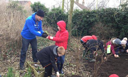 3M Staff Help School Children Plant a Wildflower Meadow